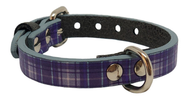 Collare fantasy in ecopelle stampa tartan blu